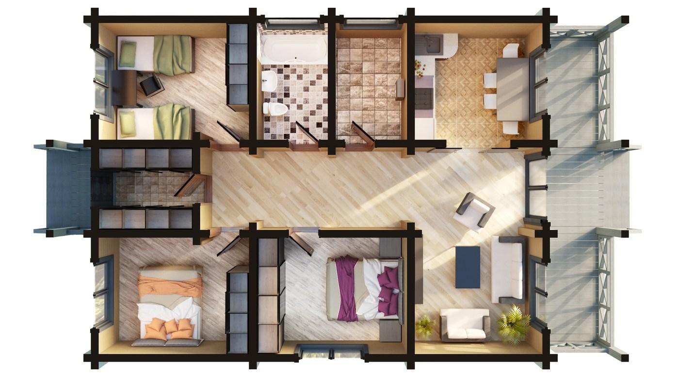 Tipico Progetto Di Casa In Legno Lamellare Impiallacciato 100 120 Mq